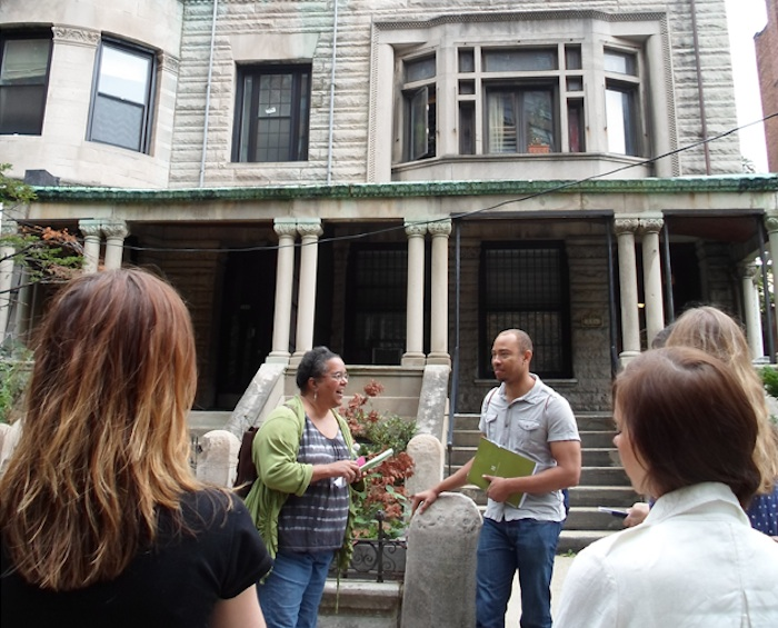 Suzanne Spellen and Morgan Munsey host a Bed Stuy walking tour.