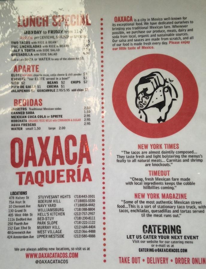Oaxaca Taqueria, Bed stuy